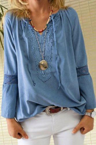 Fashion Women Cotton Linen Solid Blouse Shirt Autumn Winter Long Sleeve Lace Shirt Elegant V-Neck Drawstring Pullover Tops Blusa