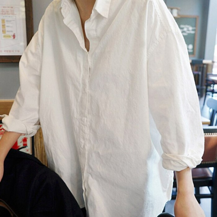 2021 Autumn Spring Women's Long Blouse Plus Size Solid White Shirts Turn Down Collar Long Sleeve Office Ladies Casual Ladies Top