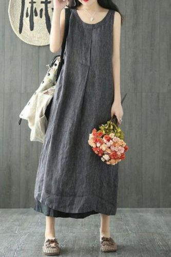 Summer Women Maxi Dress Loose Casual Striped Clothes For Women Sleeveless O-neck Plus Size Vintage linen Ladies Long Dresses