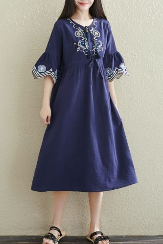 Chinese Style Vintage Dress 2021 New Arrival Loose Summer Dress Cotton Linen Embroidery High Waist Women Travel Casual Dress