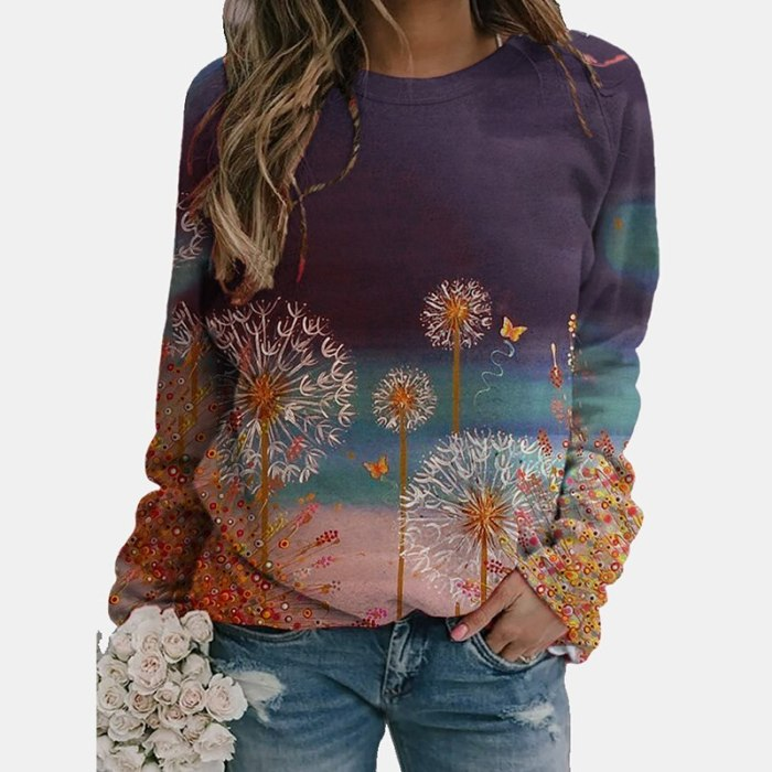 Autumn Women Fashion New O Neck Loose Long Sleeves Tops Colorful Print Vintage Streetwear Sweatshirts Office Female Party Tops