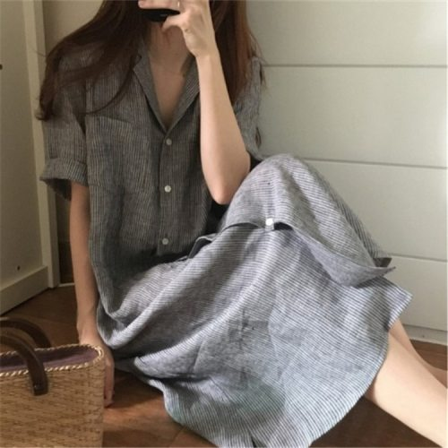 Dress Women Spring Summer New Style Cotton Striped Short Sleeve Slimming Female Clothes Loose Casual Women Dress Robe