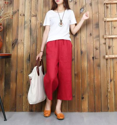 New Arrival Summer Style Women Pants Plus Size High Waist Loose Casual Wide Leg Pants Solid Cotton Linen Calf-length Pants D164