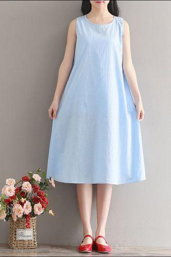 Cotton Linen Plus Size Vintage Women Casual Loose Midi Summer Beach Dress Elegant Clothes 2021  Ladies Dresses Sundress