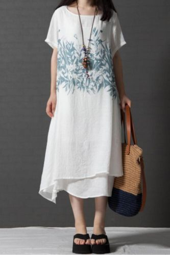 New Women Casual Loose Dresses Summer Style O-neck Short Sleeve Pockets Double Deck Print Mid-Calf Dress Size M-2X 6Q1556