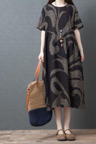 Women Cotton Linen Casual Dress New Arrival 2021 Summer Vintage Style O-neck Print Loose Comfortable Female Long Dresses S3306