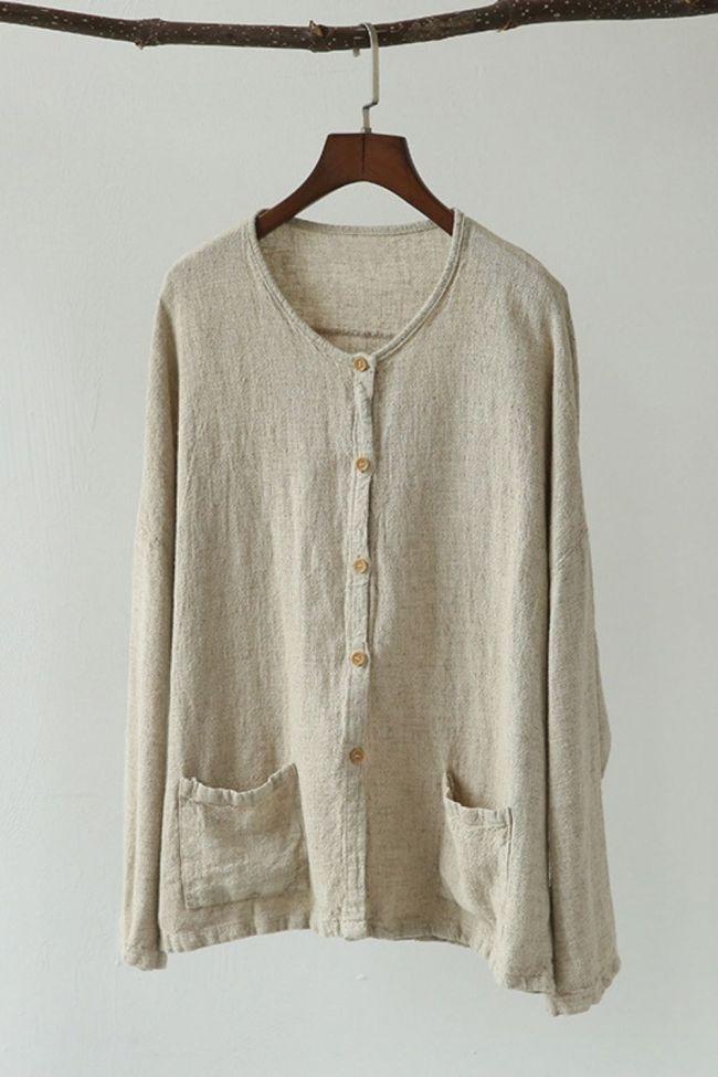 Women Spring Coats Jackets Casual Vintage Linen Women Clothes 2021 New Long Sleeve Button Pockets O-Neck Brief Loose