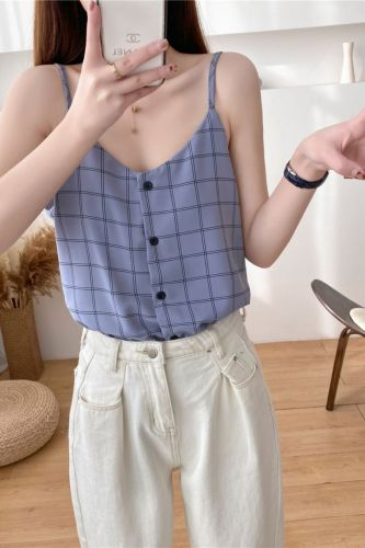 Summer Women Plaid Chiffon Camisole Tops Female Buttons Chic Cardigan Tanks Sleeveless Tops For Girls