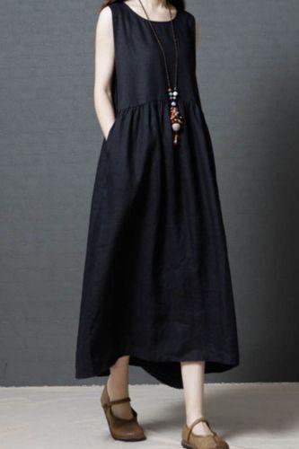 Women Round Neck Vintage Ethnic Party Long Maxi Dress Sleeveless Sundress Fashion long sleeveless solid dress
