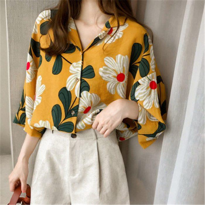 Women Summer Blouses Vintage Floral Blouse Half Sleeve Shirt Women Camisas Femininas Female Tops Fashion Cotton Shirt