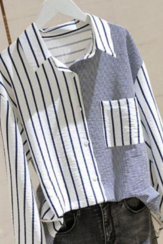 Blusas Mujer De Moda Spring Long Sleeve Cardigan Blouse Women Cotton Office Lady Plus Size Striped Loose Women Shirt 8923 50