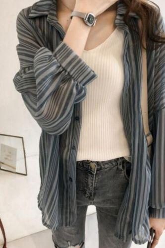 Blouses Women Korean Style Striped Sun-proof Breathable Loose Oversize 4XL Chiffon Shirt Ladies Elegant Leisure Fashion Shirts