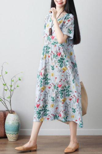 Women's Dress Summer Retro Art Print Short-sleeved Cotton Linen Dresses Female Loose Large Size Floral Fashion O-neck Dress Z276