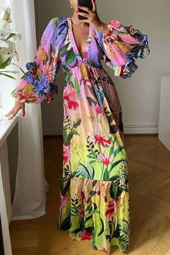 Women Fall Long Maxi Dress Floral Print Vintage Deep V Neck Sandbeach Holiday Dress Bohemian Vestidos African Sexy Party Dress