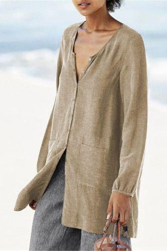 Long Sleeve Plus Size Linen Shirt Women White Button Down Shirt Loose Casual Cotton Blouse Womens Tops and Blouses Shirts Blusas