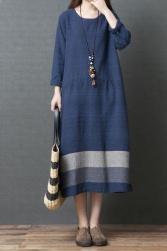 Long Sleeve Spring Dress Cotton Linen Patchwork Loose Women Dress Vintage Dress Office Lady Work Dress Casual Autumn Dress