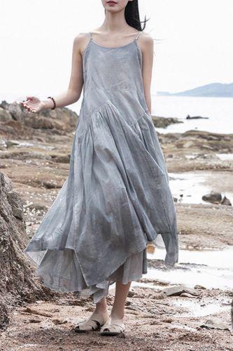 Summer 2021 Tie Dye Cotton Casual Beach Midi Dress Women Sleeveless Spaghetti Strap Irregular Dress Mori Girls