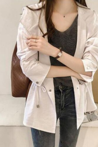 2021 Spring Autumn Women New Style Windbreaker Loose Hooded Trench Coat Mid-length Casual Long-sleeved Cardigan Coats wl016