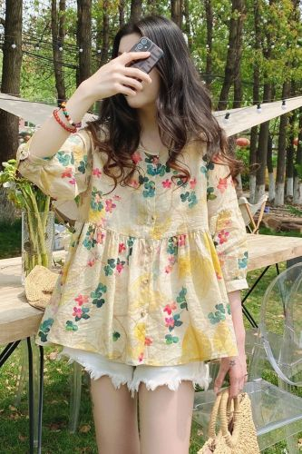 Shirt Women Print Leisure Summer Ladies Sweet Girls Cute Vocation Loose All-match Chic Fashion Party Harajuku Ulzzang Simple Ins