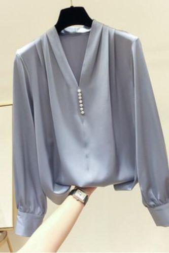 Women's Spring Autumn Style Chiffon Blouses Shirt Women's Rivet Beads Long Sleeve Solid Color Korean Elegant Tops DD9057