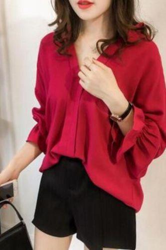 2021 Summer Women Chiffon Blouse Long Sleeve Red Ladies Office Shirts Work Shirt Casul Female Clothing Plus Size Tops NewIn
