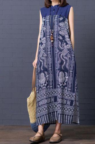 Vintage Print Cotton Linen Long Dress Kaftan 2020 Summer Women Casual Loose Tunic Sleeveless Plus Size Maxi Boho Dresses Clothes