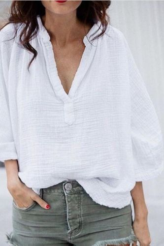 2021 Women'S Trumpet Sleeve New Loose V-Neck Cotton And Linen Shirt