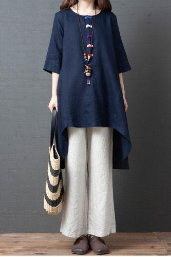 New Summer Arts Style Women Short Sleeve Loose Shirts Vintage Button Cotton Linen O-neck Long Blouse Femme Tops Plus Size M105