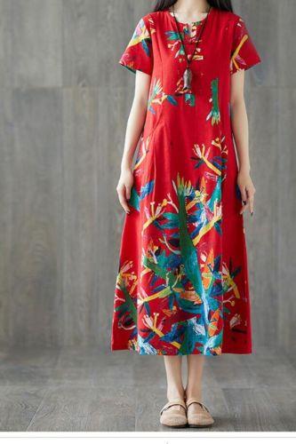 Plus Size Women Vintage Dress Summer Autumn Sundress Cotton Linen Vestidos Lady Long Dresses Print Floral Loose Casual Dress