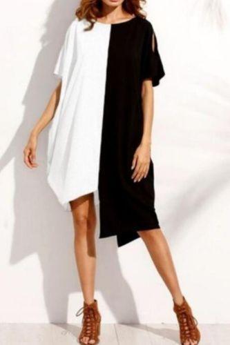 Newest Women Casual Dress Irregular Hem Short Sleeve Round Neck Loose Dress for Summer