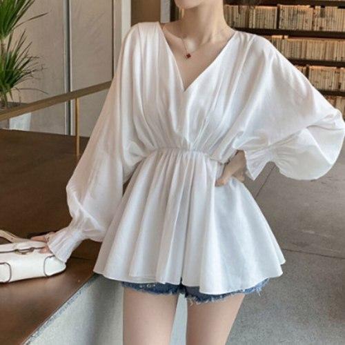 Plus Size 4XL White Casual Slim Flare Long Sleeve Women Blouses Shirt Sexy V Eck Chic Girls Korean Harajuku Summer Blusas JK1144