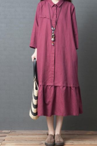 Spring New Korean Style Loose Large Size Women's Fashion Comfortable Solid Color Cotton Linen Dress