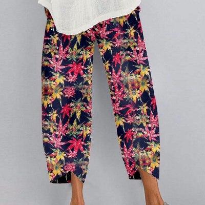 Summer Fashion Loose Plus Size Elastic Waist Cropped Pants Casual Irregular Wide Leg Pants Multi-color Print Cotton Linen Pants