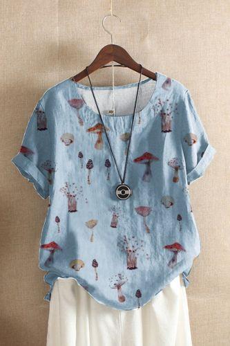 Fashion Women's Summer Casual O-Neck Short Sleeve Mushroom Printed Loose Shirt Tops Футболка Женский Camisetas De Mujer Футболка