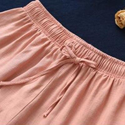 2021 Summer New Loose Plus Size Solid Color Pockets Elastic Waist Wide Leg Pants Women Cotton Linen Ankle-length Pants