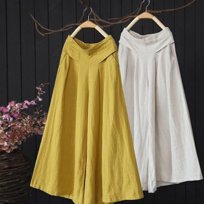 2021 Summer New Arts Style Women Elastic Waist Solid Wide Leg Pants All-matched Casual Cotton Linen Loose Pants Plus Size S980