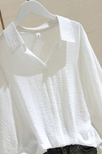 Summer Blouse Women 2021 Shirt Tops Korean Style Solid Casual Pullover Turn-Down Collar Batwing Sleeve Ladies Plus Size Clothing