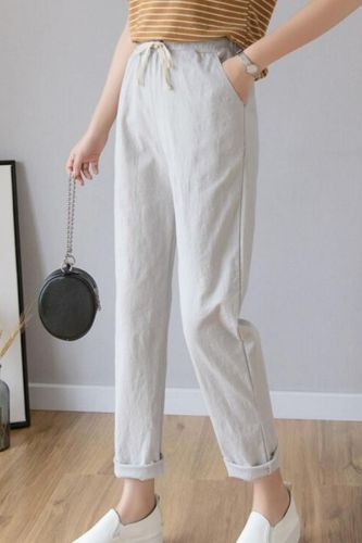 Women Casual Harajuku Long Ankle Length Trousers 2020 Summer Autumn Plus Size Solid Elastic Waist Cotton Linen Pants Black Pants