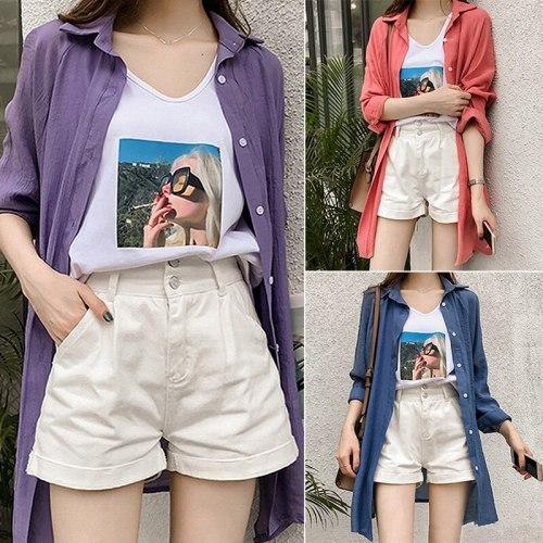 Korean Loose Shirt Long Sleeve Chiffon Mid-Length Sunsn