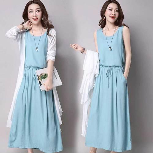 Cotton and linen sleeveless o-neck womens dresses 2018 summer art fan loose plus size was thin long tank dress S-XXXL 190