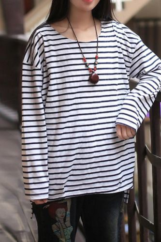 Women Striped T-Shirt 2021 Spring New Plus Size Women Clothes Top Full Sleeve O-Neck Casual Cotton Irregular T-Shirt