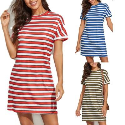 2021 Summer Round Neck Striped Print Short Sleeve Dress Dresses for Women