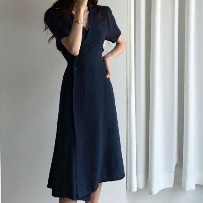 Women's Spring Dresses Kimono Ramie Linen Breathable Natural Fabric Autumn Midi Dress Vintage Office Clothing Female Long Robe
