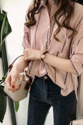 Plus Size Fashion Striped Blouse Casual Spring Winter Ladies V-Neck Buttons Tops Female Women 3/4 Sleeve Shirt Blusas Pullover