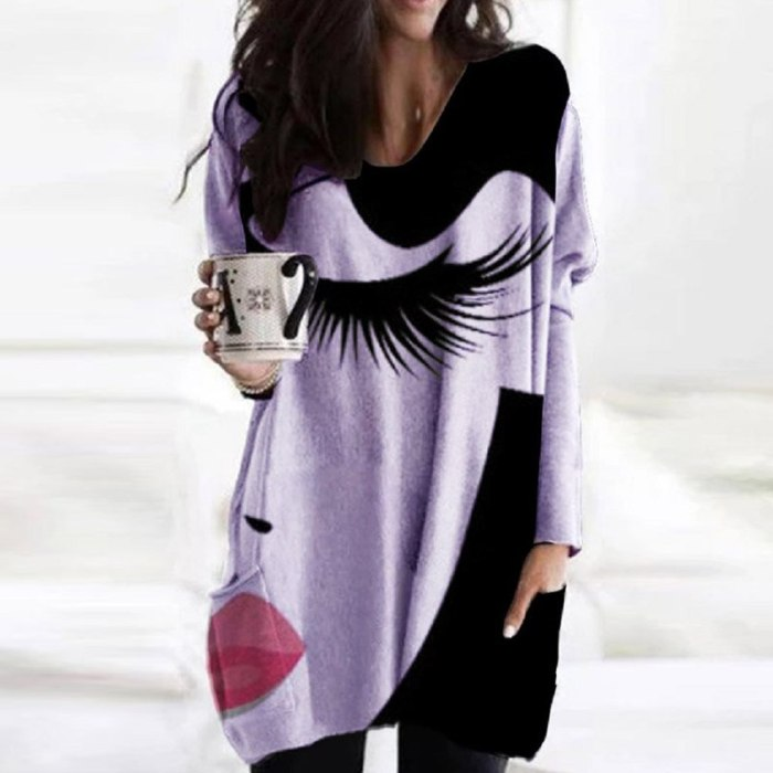 Women Vintage Abstract Print Long Sleeve Blouse Shirt Elegant V Neck Loose Pullover Tops Ladies Autumn Pockets Oversized Blusa