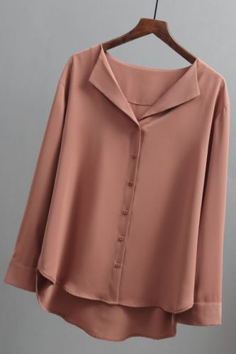 Blouses Woman 2021 Long Sleeve Chiffon Blouse Women Shirts Top Female Solid White Brown V-neck Office Ladies Tops Blusas A296