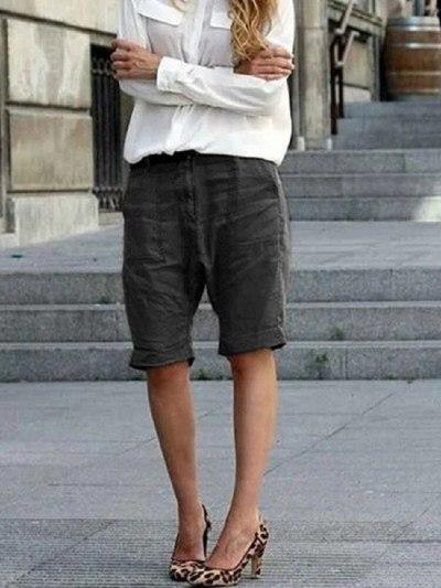 Plus Size 3XL Women Shorts Summer New Cotton Linen Casual Streetwear Basic Short Pants Outwear Female
