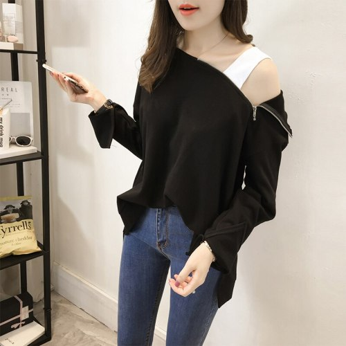 XL--4XL Plus Size Women Fat Halter Top Off One Shoulder Slit Song Batwing Sleeve Hoody