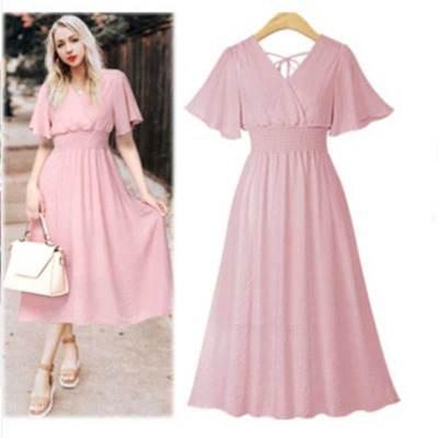 2021 V Neck Chiffon pink Dress Summer Women Medium Long Slim Retro Dress Lotus Leaf Beach Dress black white dress
