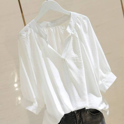 4XL Plus Size Pure Solid Tops Shirts Half Sleeve Cotton Casual Mandarin Collar Ladies Female Blouse Tops
